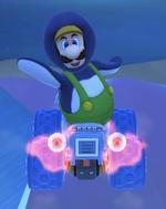 Penguin Luigi performing a trick.