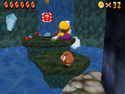 Wario in Behind the Waterfall