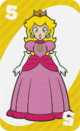 The Yellow Five card from the UNO Super Mario deck (featuring Princess Peach)