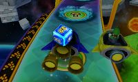 A Dice Block in Mario Party: Island Tour being used on a player's turn at Rocket Road. Here, the block shows a 20 after being rolled.