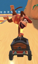 Diddy Kong performing a trick.