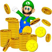 Artwork of Luigi and many Coins from Mario Party.