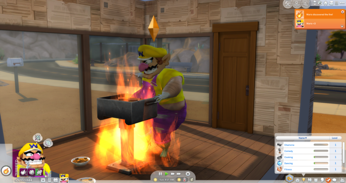 Wario discovered fire. Yeah I bet. Also, you can see it took me the third try to catch fire on myself. Third time's the charm I guess.