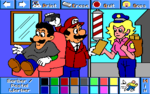 Mario as a barber and Peach as a postal worker.