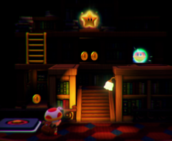 The illustration of Spinwheel Library in Captain Toad: Treasure Tracker.
