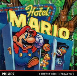 "The front cover for Hotel Mario'""`UNIQ--nowiki-00000000-QINU`""'s North American release"