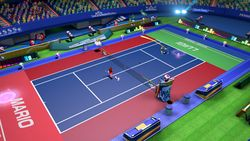 A match featuring Mario versus Luigi in Mario Tennis Aces.