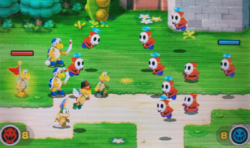 """A screenshot of the Minion Quest: The Search for Bowser level, """"Oh, Hi, Shy Guy!""""."""