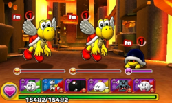 Screenshot of World 8-4, from Puzzle & Dragons: Super Mario Bros. Edition.