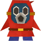 An origami Snifit from Paper Mario: The Origami King.