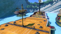 A screenshot of the Savage Sea Court in Mario Tennis Aces