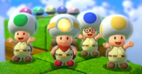 Captain Toad and the Toad Brigade completing a Captain Toad's Adventures level in Super Mario 3D World + Bowser's Fury