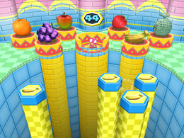 Wario falls to his doom in Fruit Talktail from Mario Party 6