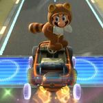 Tanooki Mario performing a trick. Mario Kart 8.