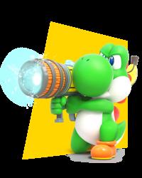 Artwork of Yoshi in Mario + Rabbids Kingdom Battle.