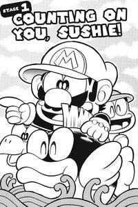 Mario on Sushie from the English Super Mario-kun compilation, Super Mario Manga Mania.