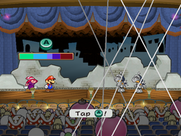 Mario and Vivian using the Supernova special move on two Koopatrols in Rogueport Sewers