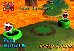 A screenshot of the intro video of hole 16 from bowser badland