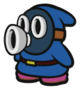 The Blue Snifit sprite from Paper Mario: Color Splash.