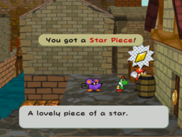 Mario getting the Star Piece behind a barrel in the back side of east Rogueport in Paper Mario: The Thousand-Year Door.