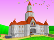 Peach's castle from the Royal Raceway track in Mario Kart 64.
