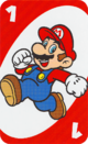 The Red One card from the UNO Super Mario deck (featuring Mario)