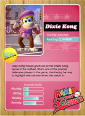 Level 1 Dixie Kong card from the Mario Super Sluggers card game