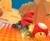 The icon of the Shy Guy Cup challenge from the Valentine's Tour and the Baby Peach Cup challenge from the Frost Tour in Mario Kart Tour.