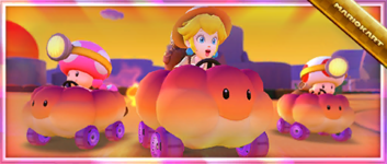 The Commemorative Kart: Sunset Cloud Pack from the Sunset Tour in Mario Kart Tour