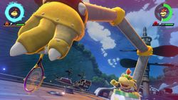 Bowser Jr. performing his Special Shot, the Armed and Dangerous