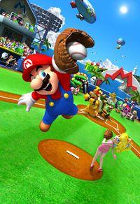 Group artwork of Mario and friends at Mario Stadium in Mario Super Sluggers
