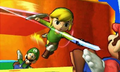 SSB4 3DS - Toon Link Misses Mario.png