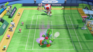 Toad failing to return the ball correctly in Mario Tennis: Ultra Smash.