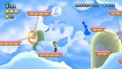 Luigi sighting in Flame Chomp Ferris Wheel from New Super Luigi U