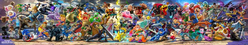 Super Smash Bros. Ultimate panoramic art, after Simon, Richter, Chrom, Dark Samus, and King K. Rool were revealed.