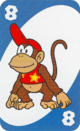 The Blue Eight card from the UNO Super Mario deck (featuring Diddy Kong)
