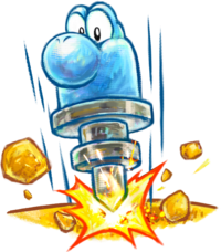 Artwork of Jackhammer Yoshi, from Yoshi's New Island.