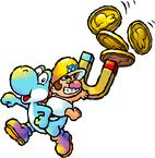 Artwork of Baby Wario sitting on a Light-Blue Yoshi from Yoshi's Island DS