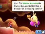 "Princess Lipid with both Luigi and the ""treasure of e'erlasting wonder""."