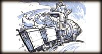Concept artwork of the Mole Train, Mole Miner Max, and two Mole Miners.