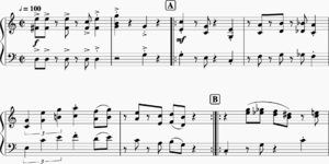 Sheet music for the introduction and A section of the Ground Theme from Super Mario Bros.