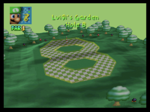 The eighth hole of Luigi's Garden from Mario Golf (Nintendo 64)