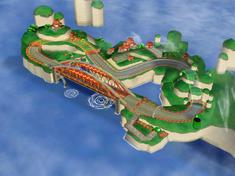 Side aerial view of Mushroom Bridge in Mario Kart: Double Dash!!