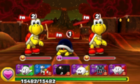 Screenshot of World 7-5, from Puzzle & Dragons: Super Mario Bros. Edition.