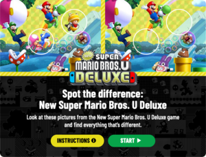 The title screen for Spot the difference: New Super Mario Bros. U Deluxe