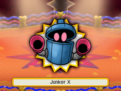 An artwork of the X boss before fighting it. In this case, it's Junker.