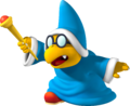Super Mario Galaxy promotional artwork: A Magikoopa holding his wand (reused for Mario Party DS as Kamek's artwork)