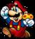 Artwork of Mario holding a Super Mushroom from Super Mario Bros.