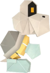 An origami Dry Bones from Paper Mario: The Origami King.