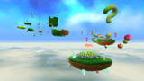 "A screenshot of Gusty Garden Galaxy during the ""Bunnies in the Wind"" mission from Super Mario Galaxy."